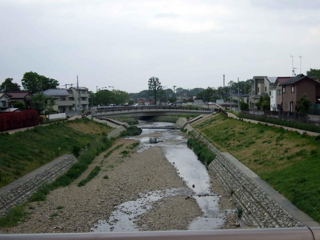 くるまや橋から眺めた空堀川。小金井街道方面。
