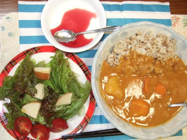 ココナッツチキンカレーにサラダ、手づくり杏仁豆腐ブルーベリーはちみつがけをプラスです♫