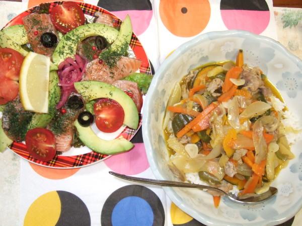 緑黄色野菜入りの中華あんかけ丼&サーモンマリネ