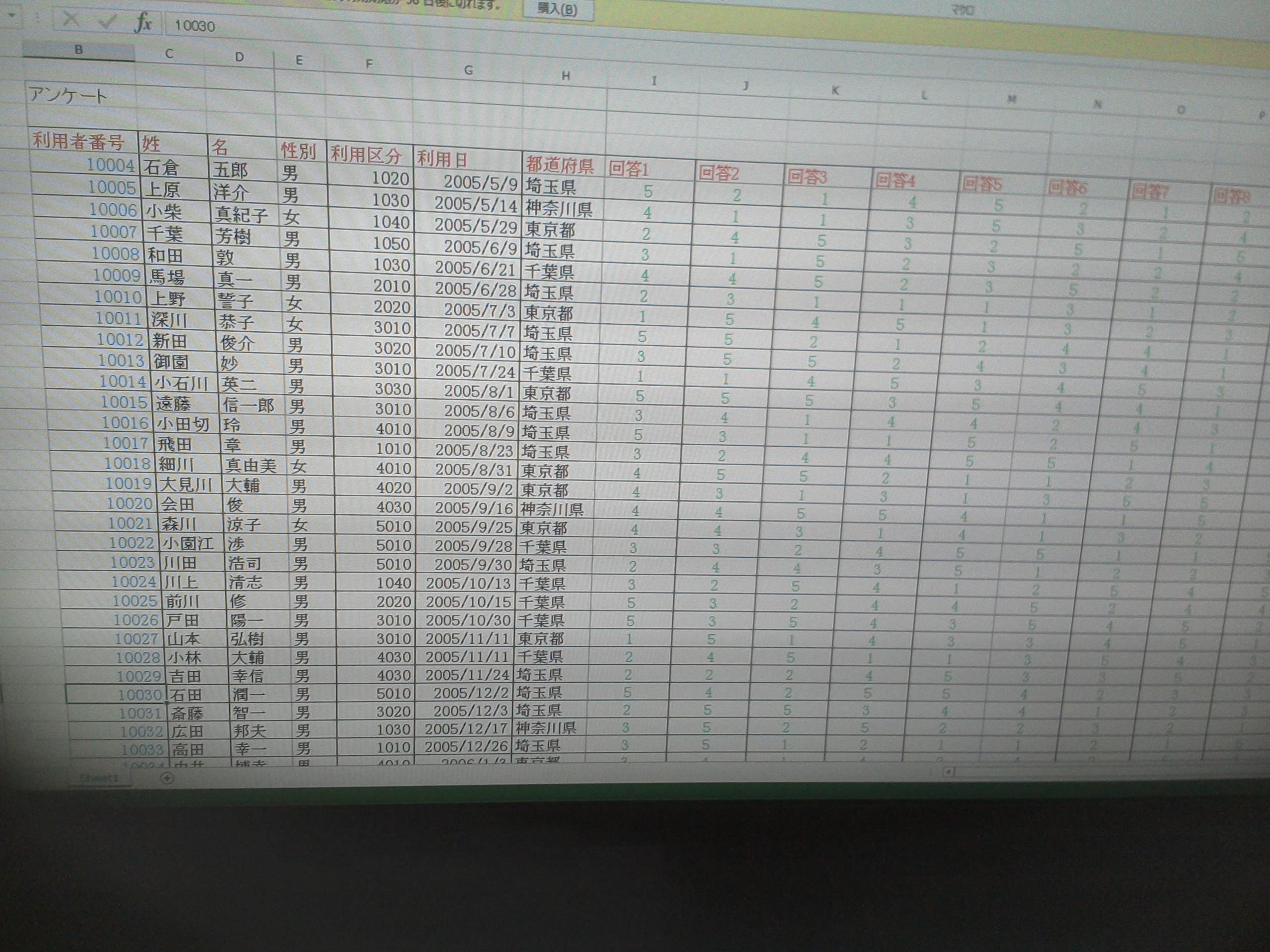 こちらは印刷設定前の元データです。これを印刷レイアウトや改ページにしてみようとの練習です。