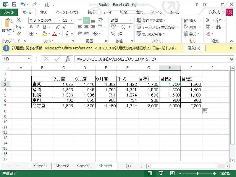 ここからがメインとなる関数のネストです。H列の目標2には、C~E列の平均を1.2倍した結果を切り捨てたもの。H3にROUNDDOWNを先に設定し、AVERAGE(C3:E3)のあと、再びROUNDDOWNの部分をクリックして数値に「AVERAGE(C3:E3)*1.2」、桁数に「-2」を入力したもの。