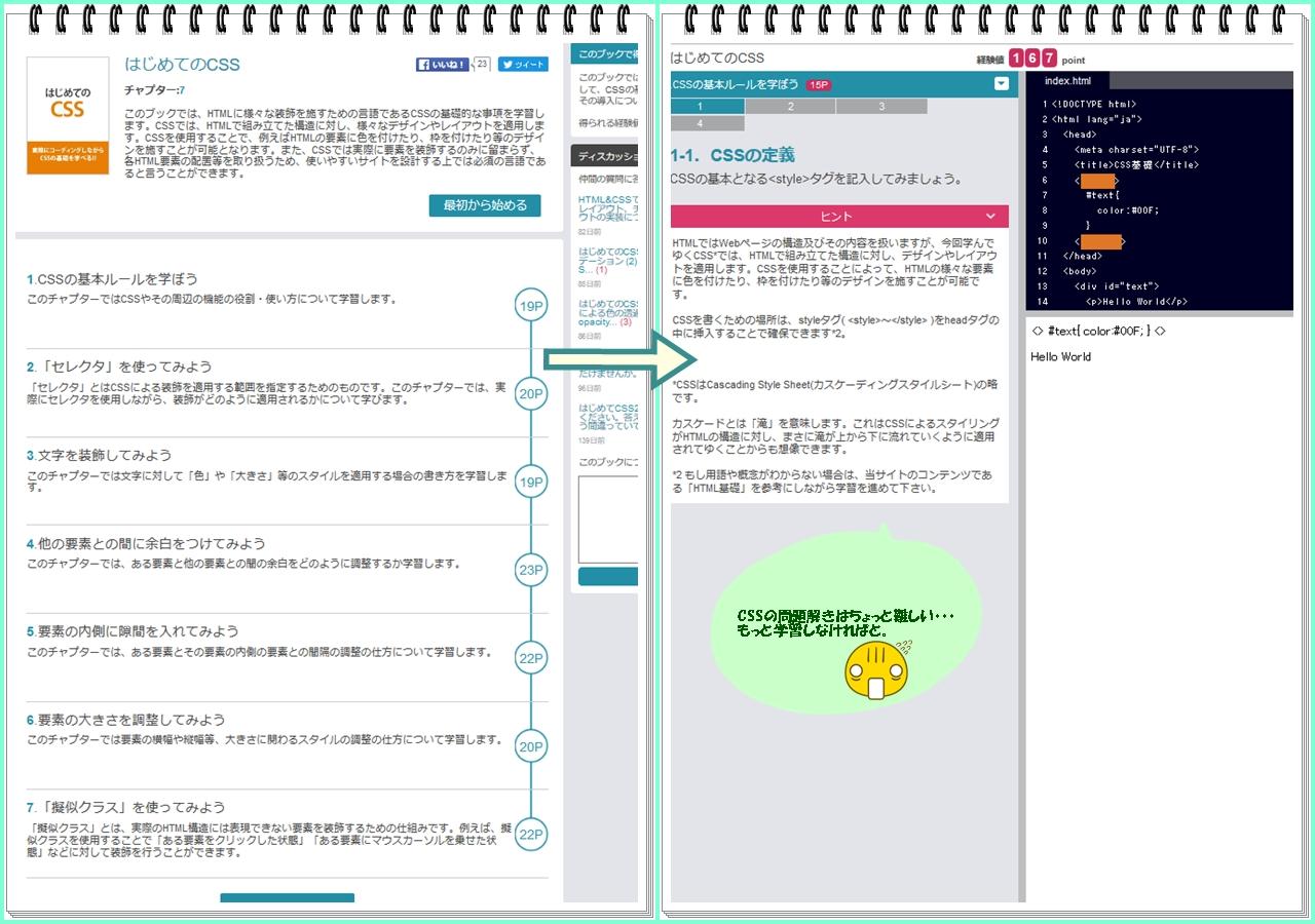 CODEPREPのCSSの基礎を選択。問題がさっぱりわからず・・・。もう少しCSSを詳しく学びたいと思います。