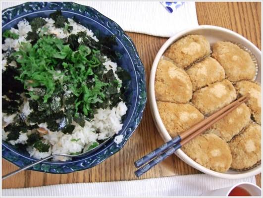 他の皆さんからの各持ち寄りもありました。海苔と大葉入りの鮭ごはんと手作りおはぎ。