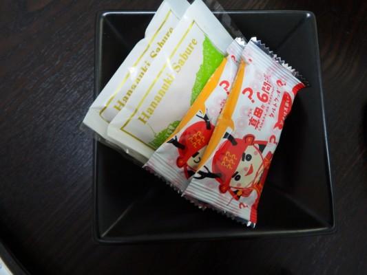 毎回訪れる度に、お部屋のテーブルに置いてあるお菓子がいつも違います。今回は今旬の真田丸のお菓子でした。