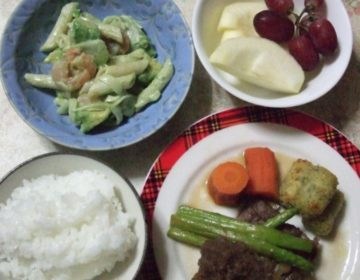 敬老の日のお祝い:用意した食材で夕食作り