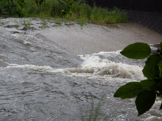 大雨の空堀川(梅板橋付近)