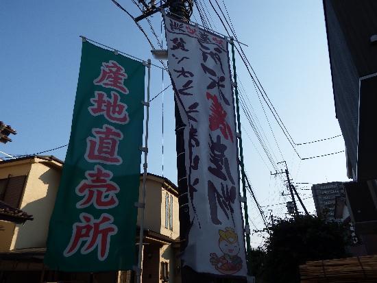 地元、所沢農産物の旗(トコろんキャラクター入り)で積極的にアピールです。